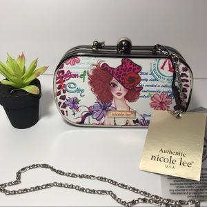 Nicole Lee Hard Case Purse Clutch